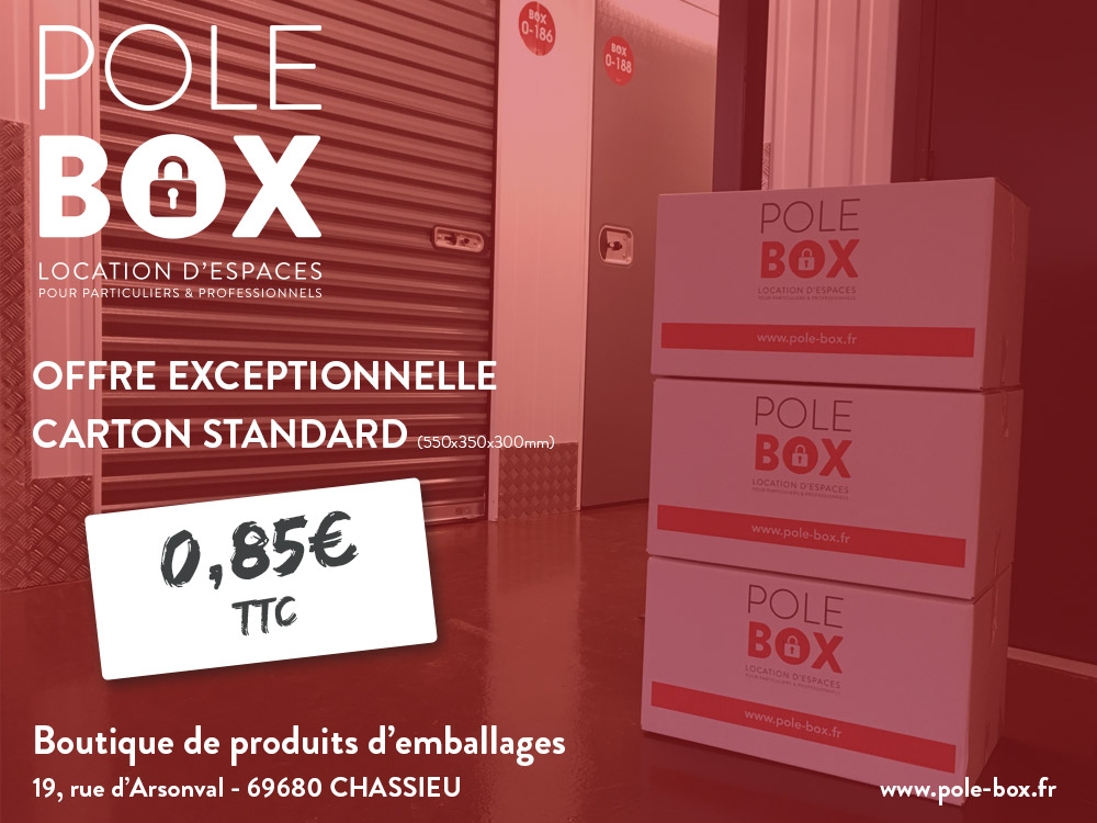 carton 0 85 ttc pole box location de box garde meuble bureau lyon chassieu eurexpo. Black Bedroom Furniture Sets. Home Design Ideas